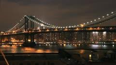 NYC Timelapse - manhatten bridge night 06 Stock Footage