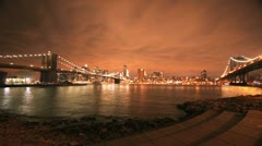 NYC Timelapse - brooklyn bridge night 08 - stock footage