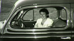Smiling Happy Woman Sits in Old Antique Car 1930s Vintage Film Home Movie 1378 Stock Footage