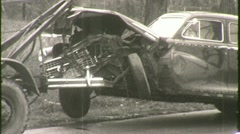AUTO ACCIDENT Tow Truck Hauls Wrecked Car 1940s Vintage 16mm Film Footage 1376 - stock footage