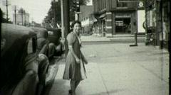 Woman Opens Closes Car Door Walks Sidewalk 1930s Vintage Film Home Movie 1380 Stock Footage