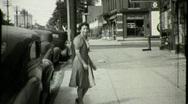 Street Scene Car and Woman Circa 1939 (Vintage Film Home Movie) 1380 Stock Footage