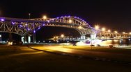 Stock Video Footage of Blue Water Bridge Night Timelapse