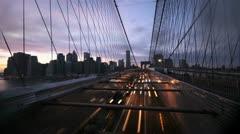 NYC Timelapse - brooklyn bridge night 03 Stock Footage