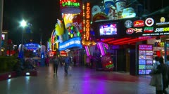 Las Vegas night, people on the strip, neon advertisements, #10 - stock footage