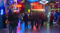 Las Vegas night, people on the strip, neon advertisements, #9 - stock footage