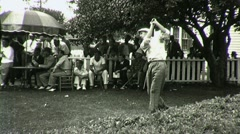 Man Golfers Tournament Competition Swing Club 1930s Vintage Film Home Movie 1383 - stock footage