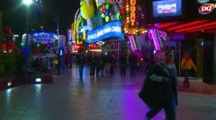 Las Vegas night, people on the strip, neon advertisements, #7 - stock footage