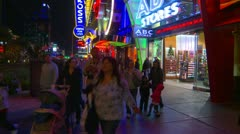 Stock Video Footage of Las Vegas night, people on the strip, neon advertisements, #4