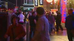 Las Vegas night, people on the strip, neon advertisements, #12 - stock footage