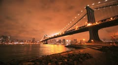 NYC Timelapse - manhattan bridge night 09 - stock footage
