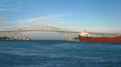 Bridge and Freighter Timelapse Stock Footage