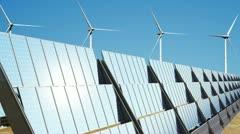 Solar Panels and Wind Turbines 03 loop Stock Footage