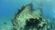 Stock Video Footage of 110612i 015 shipwreck in shallow water and coral reef