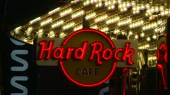 Las Vegas night, hard rock cafe sign Stock Footage