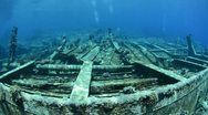 Stock Video Footage of 110612i 011 shipwreck in shallow water and coral reef