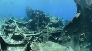Stock Video Footage of 110612i 006 shipwreck in shallow water and coral reef