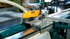 Circular saw at work on plywood factory Stock Footage
