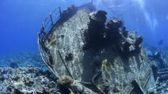 Stock Video Footage of Rusty remains of a cargo vessel - Underwater view