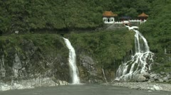 Waterfall And Shrine In Taroko Gorge Taiwan Stock Footage