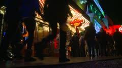 Las Vegas night, people on the strip, neon advertisements, #3 - stock footage