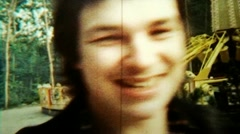 Smiling Dude Close Up Fast Repeated Loop 02 - Vintage Super8 Film Stock Footage