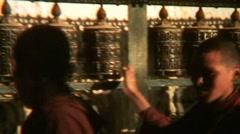 Nepal Buddhist Monks Spinning Prayer Wheels - Vintage Super8 Film Stock Footage