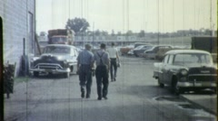 WORKERS QUITTING TIME Lunch Men Leave Factory 1950s Vintage Film Home Movie 1398 Stock Footage