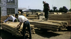 MEN WORK LUMBER YARD Construction Industry 1960s Vintage Film Home Movie 1401 Stock Footage