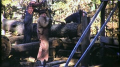Stock Video Footage of Portable Sawmill and Workers Circa 1950 (Vintage Film 16mm Footage) 1404