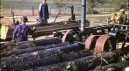 Stock Video Footage of Portable Sawmill and Workers Circa 1950 (Vintage Film 16mm Footage) 1403