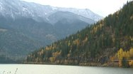 Three Valley Gap fall with first autumn snow Stock Footage