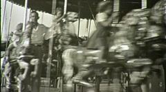 People RIDE CAROUSEL Merry-Go-Round Carnival 50s Vintage Film Home Movie 1409 Stock Footage