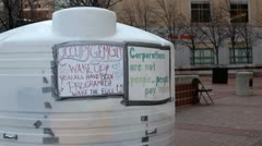 Occupy Dayton signs on living space of protester Stock Footage