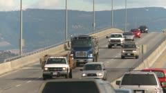 Traffic on Kelowna bridge Stock Footage