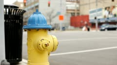 Fire hydrant at intersection during day Stock Footage