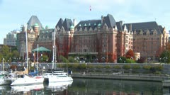Empress hotel from harbor, Victoria, BC Stock Footage