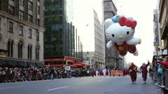 Hello Kitty balloon in Macy's Parade Stock Footage