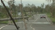 Downed Power Lines After Hurricane Hit Stock Footage