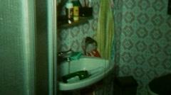 Bathroom Interior Design Subjective Camera - Vintage Super8 Film Stock Footage