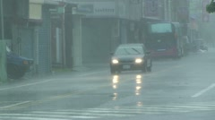 Car Driving In Torrential Rain In Tropical Storm Stock Footage