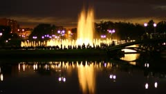 The beautiful city fountain at night Stock Footage