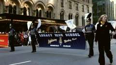 Legacy high school in Macy's Parade - stock footage