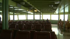 POV from aboard passenger seats of ferry Stock Footage