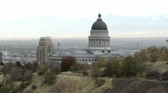 Utah State Capital Building from Mountain P HD 8568 Stock Footage