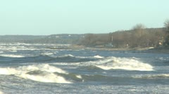 Hurricane Berit hitting the island of Gotland with big waves and strong winds Stock Footage