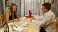 Romantic Fine Dining Stock Footage