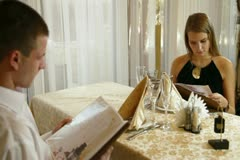 Couple dinner in a restaurant Stock Footage