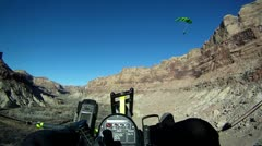 Power Parachute sport flying deep canyon walls P HD 0011 Stock Footage