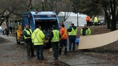 Garbagemen and truck. Stock Footage